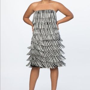 Eloquii fringe strapless party dress
